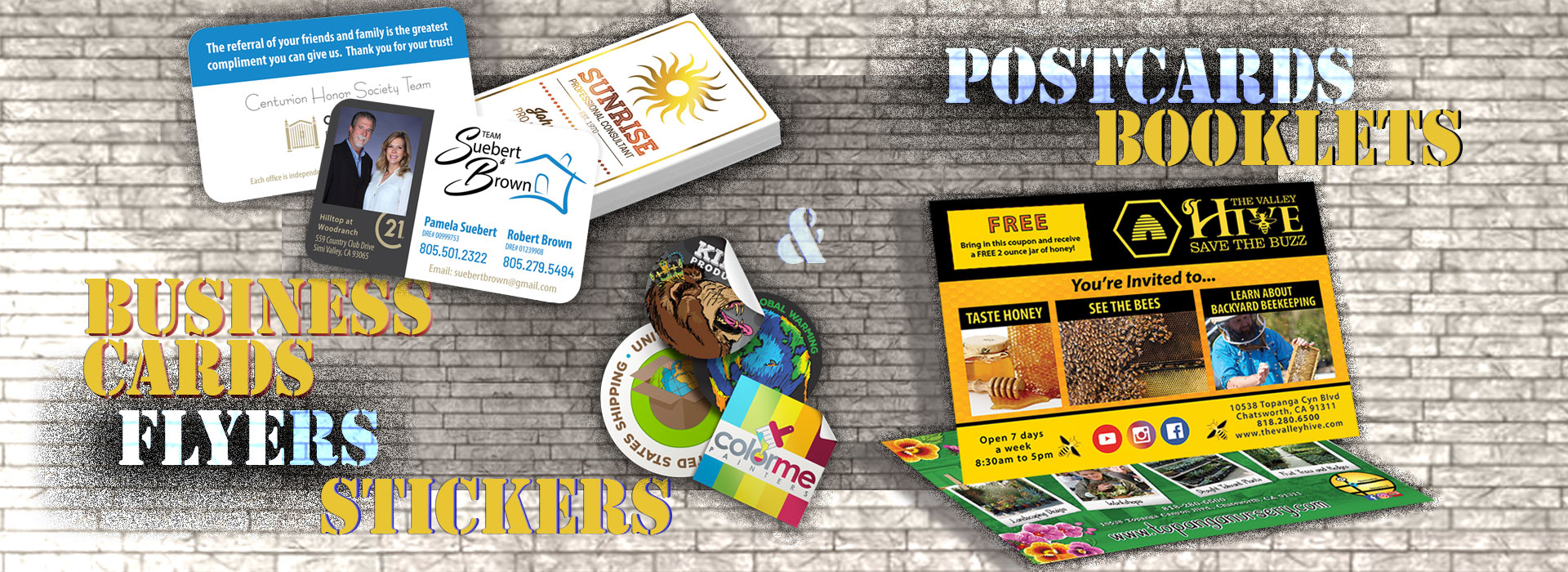 Business Cards, Postcards, Stickers